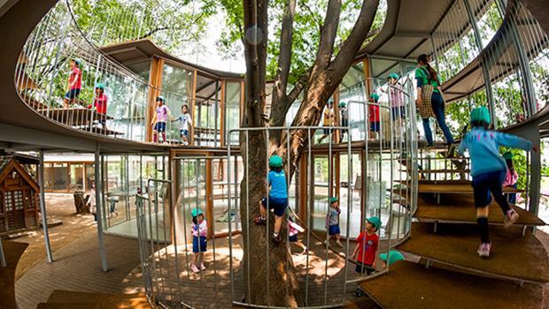 50年最棒建築!3棵大樹貫穿屋頂,500個小孩嬉鬧,這家東京幼稚園像藏在都市裡的童話村莊