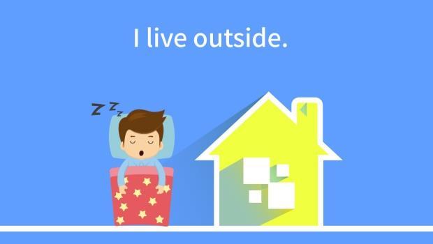 I live outside...我跟老外聊到自己一個人住外面,為何他以為我睡在陽台?