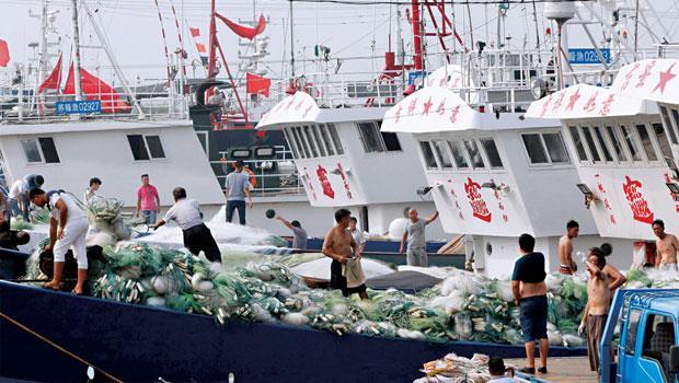 中國總漁獲量近年快速衝上世界第一,還引發國際關切過度捕撈問題(圖為江蘇連雲港漁船)。