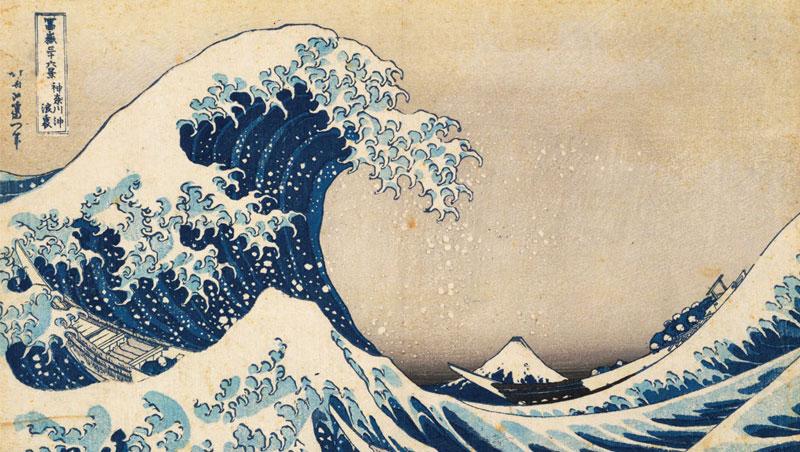 一八○三年葛飾北齋以富士山為主題創作《富嶽三十六景》系列版畫,其中以這件〈神奈川沖浪裏〉最知名,更啟發梵谷等後印象派畫家與音樂家德布西。
