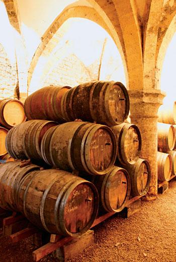 取酒試飲時,為了不破壞酒液表面珍貴的Voile酵母菌,培養黃葡萄酒的橡木桶都會在側邊裝設特別的出酒孔。