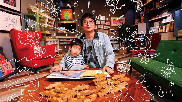 賴馬大多以「小畫家」軟體作畫,這張為《商業周刊》設計的圖像展現他豐富活潑的風格。找找看,裡頭藏了哪些繪本角色?