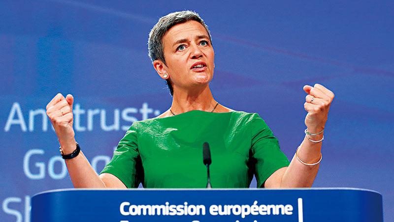 歐盟執委會專員薇絲泰格去年重罰蘋果、今年嚴懲Google,加深市場猜疑歐美罰單戰一觸即發的擔憂。