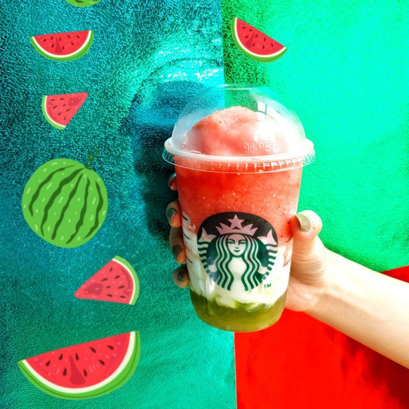 今年夏天星巴克發表了「西瓜荔枝蘆薈星冰樂」限定飲品。
