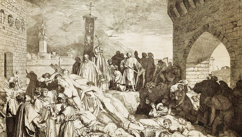 1348年黑死病在佛羅倫斯肆虐,當時文學家薄伽丘在《十日談》裡描繪這股恐怖景象。