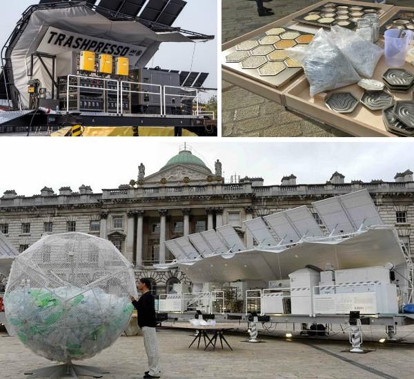 「Trashpresso」曾在 2018 年的米蘭設計週中展出,一小時可將 50 公斤垃圾「濃縮」製成再生磁磚。
