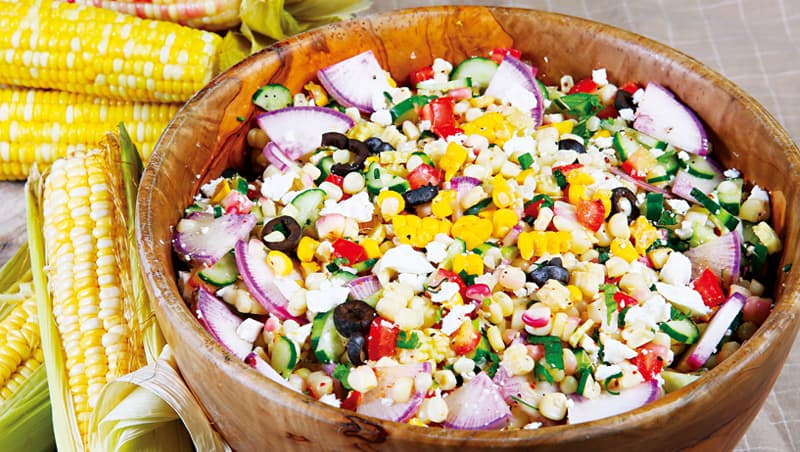 以甜糯玉米及甜玉米為主的沙拉,熱量低且有豐富的膳食纖維。