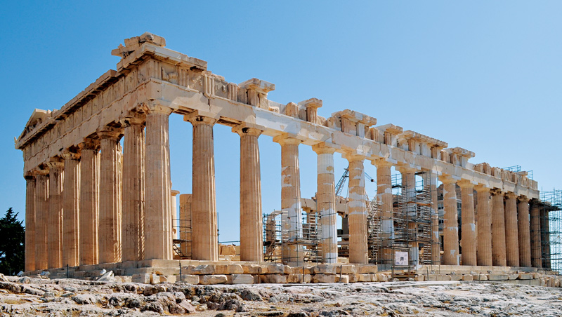 雅典衛城帕特嫩神廟為希臘鼎盛時期的建築傑作,象徵雅典最光輝時期。