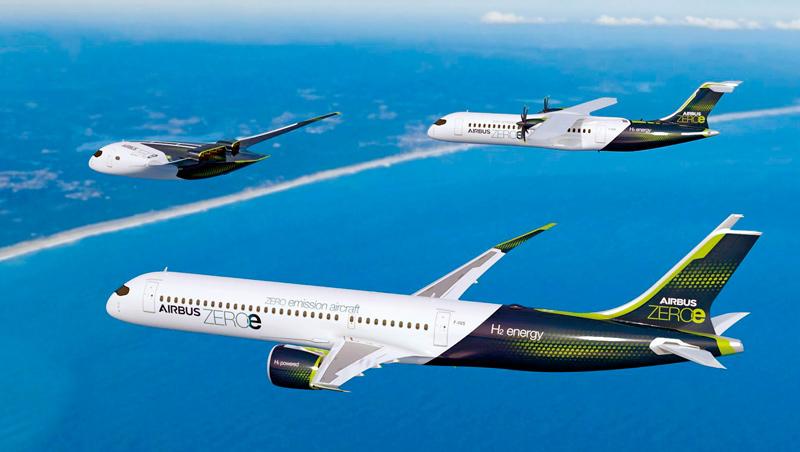 航空業減排壓力增加,空中巴士發表涵蓋長、短途航程的氫動力概念機,展現想要用替代燃料全面取代燃煤的野心。