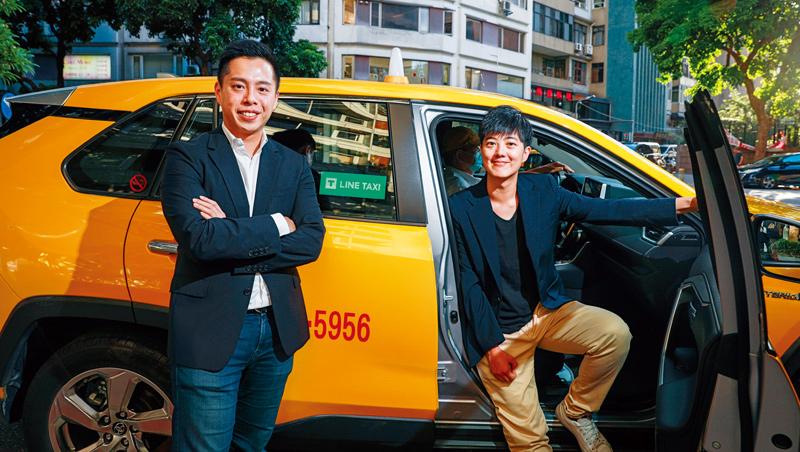 陳泰成(左)和黃佩恩(右)創立TaxiGo,去年被納入Line生態系,改名Line Taxi後,1年時間就成為全台規模第4大車隊。