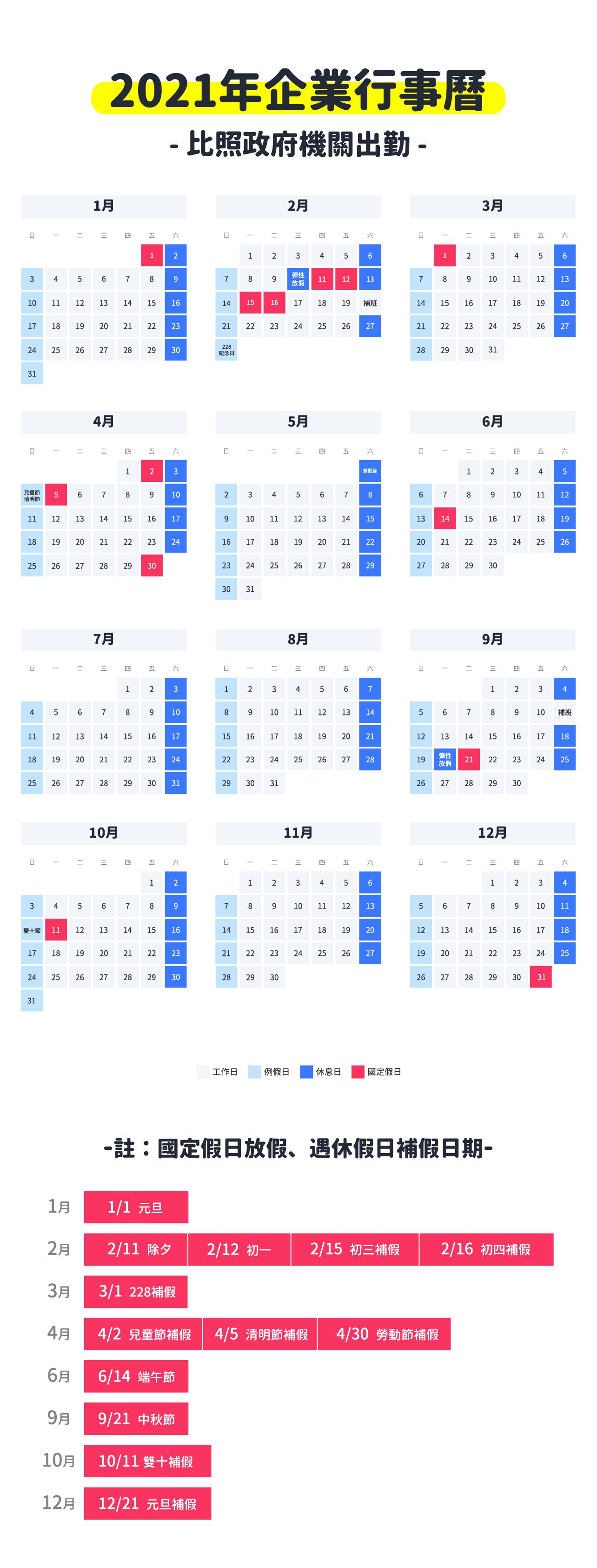 2021企業行事曆(比照政府機關出勤)