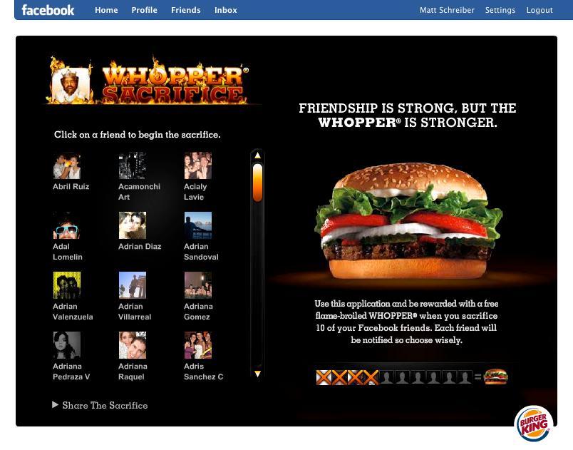 漢堡王行銷活動:刪除10個好友送1個華堡