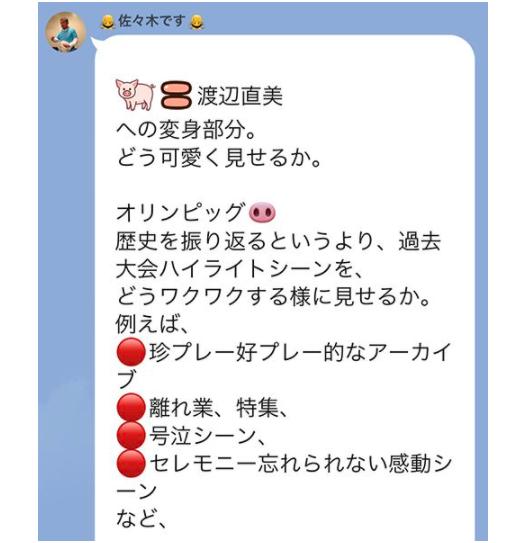 日媒週刊文春取得截圖,籌畫東京奧運開幕式的負責人佐佐木宏曾提案由身材圓潤的女演員渡邊直美扮豬。