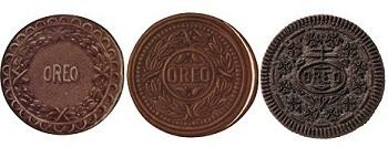 Oreo在1912年、1924 年、1952 年推出的外觀設計。
