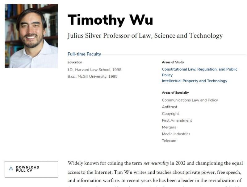 吳修銘是哥倫比亞大學法學教授,學術專業包括反托拉斯法、版權與電信法。