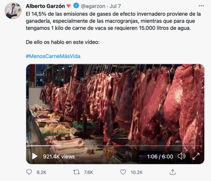 西班牙消費事務部長加爾松在Twitter上呼籲大家少吃肉救地球。