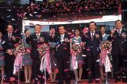 ■大眾的營運總部落成時,簡明仁(中)還邀請陳水扁總統(右)風光剪綵。