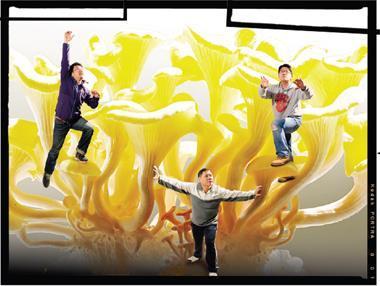 「就是菇」創辦人:黃舜麟(右)、林政緯(左)、張欽龍(中)