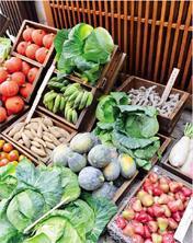 日雜風市集,五顏六色的蔬菜水果。