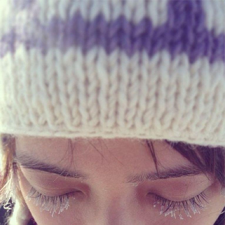 冷到白天都睫毛都會結冰啊