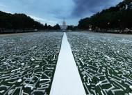 震撼畫面!100萬根白骨  占滿白宮抗議廣場
