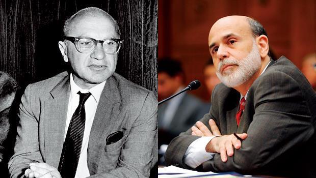 傅利曼(左)在50年前的著作中指出聯準會犯的錯誤,深深影響了柏南奇(右)任內的政策走向。