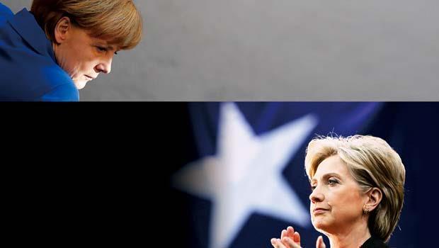 (左)德國總理 梅克爾(Angela Merkel)、(右)美國前國務卿 希拉蕊(Hillary Rodham Clinton)