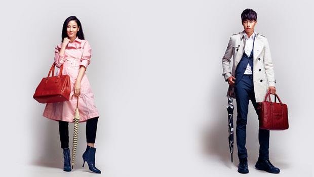 化學纖維西裝、風衣式雨衣(模特兒:王寧、陳祐儁)