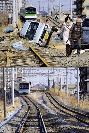 再起!日本311地震的宮城縣災區,一處電車軌道被海嘯沖毀(上圖);靠著災民互助、專業團隊修復,1年後已如常通車(下圖)。