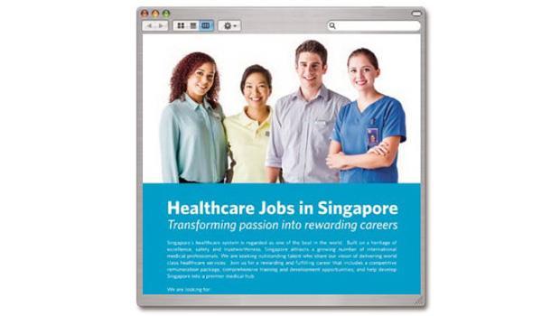 新加坡衛生部刊登在長庚醫學院網站的廣告,以「更大的舞台」為號召,吸引台灣年輕醫師前往。
