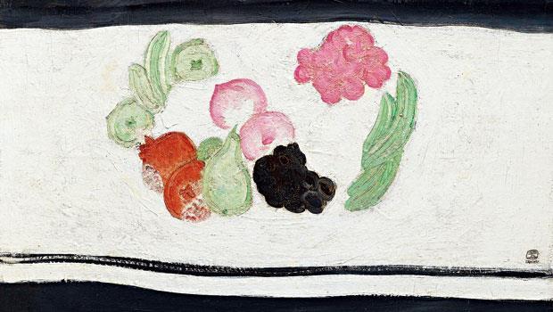 不輕易流通在市場上的常玉畫作,此次台北藝博也展出僅此一幅的《果宴》。