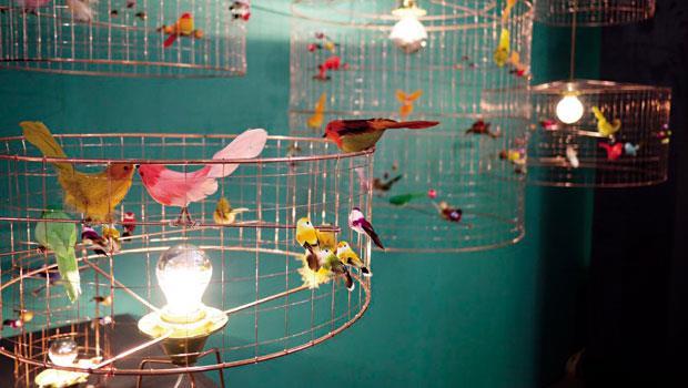 法國鳥籠做成時尚燈具