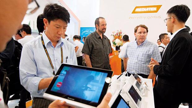 聯發科的智慧型手機解決方案不僅在中國吃香,現在也開始打進印度、印尼、越南等新興市場。圖為今年台北國際電腦展。