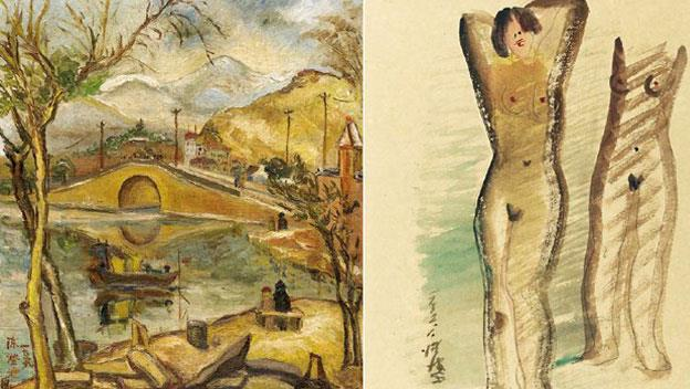 陳澄波的《清流》(左圖)以杭州西湖為主題,是他相當珍愛的畫作。陳澄波特別喜歡明末清初知名畫家八大山人作品的擦筆技巧,策展人蕭瓊瑞說明,在這幅淡彩鉛筆畫作《立姿裸女》(右圖)中,陳澄波就以水彩側筆皴擦,