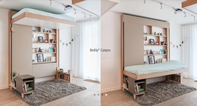 誰說床一定占空間!這個設計不但把床收到天花板,使用時還不用清空家具 - 商業周刊