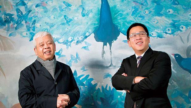 本刊兩週內兩次採訪台北萬豪酒店常董劉恒昌(右),第三次採訪時劉文治(左)希望父子一同受訪,愛子之情盡現 。