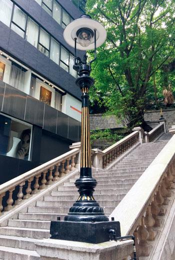 香港的都爹利街的法定古蹟煤氣燈