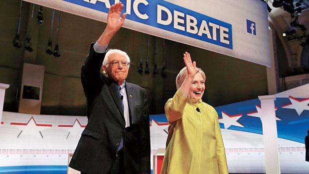 桑德斯( 左) 年輕時是個嬉皮,其特立獨行也和傳統政客出身的希拉蕊(右)相反。