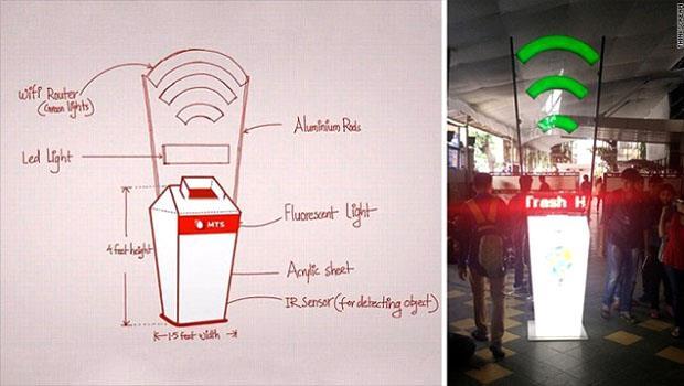 丟垃圾就送免費Wi-Fi!印度設計這款「智慧垃圾桶」,讓大型集會也能沒有垃圾