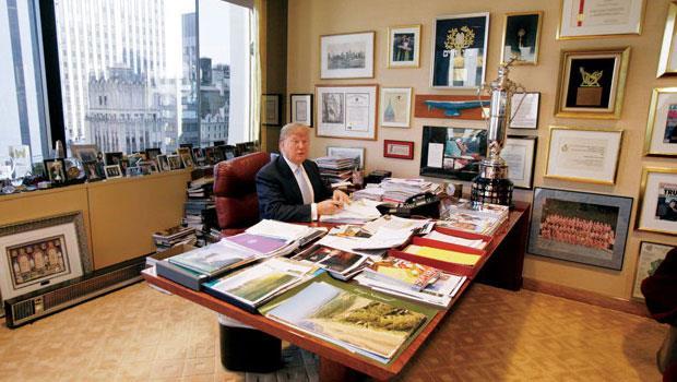上班當興趣 川普只睡3、4小時,迫不及待想工作,有條不紊的辦公桌,也透露出他自律甚嚴的個性。