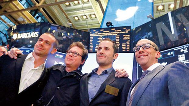 推特高層頻換血,連執行長多西(左1)也曾下台後再回鍋,讓股價從上市的45 美元,跌至約剩13。