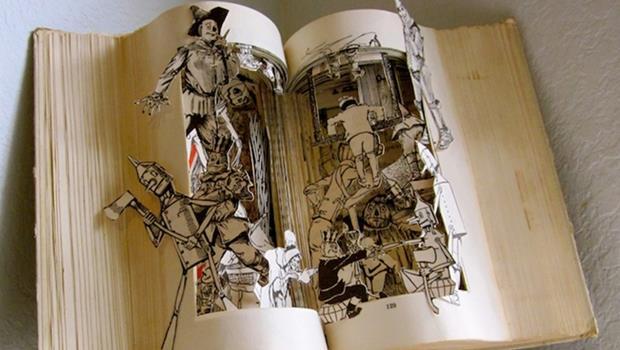 主角們都站起來了!有圖,美國雕塑家把二手童話書變立體雕刻書
