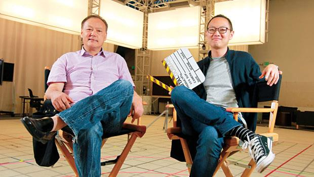 數字王國洛杉磯總部、全美最大動態攝影棚內,周永明(左)跳槽後首次接受採訪,這裡是他和執行長謝安(右)稱霸VR 界的起點。