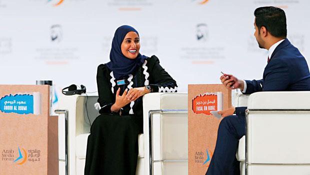 阿聯快樂部長羅蜜(左)盼創造自由環境、打造對抗肥胖與糖尿病的健康政策等,但被批空空如也。