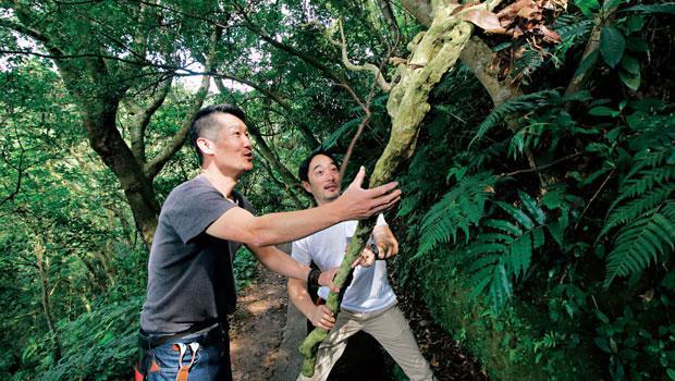 來自日本金澤的花藝家岡本俊英(左)在坪頂古圳步道上,對掛在山壁上的枯枝發出讚嘆。植物的各種生命姿態,在他的眼裡都是最美。