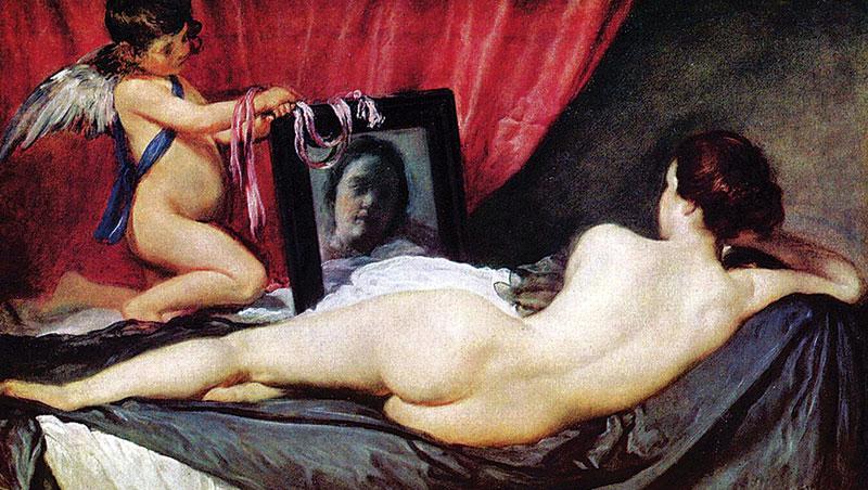 畫中人的婀娜曲線極具挑逗性,但鏡中女子的視線卻給予觀者「不是我在看她,是她看著我」的錯覺。