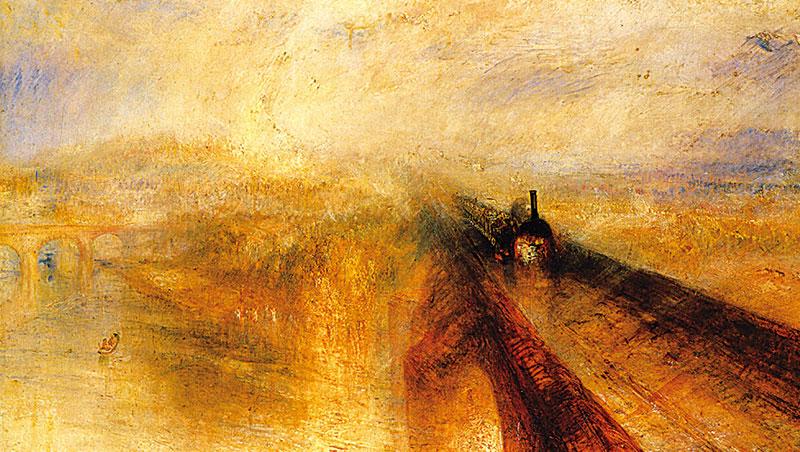 此畫是1825年透納第一次搭乘鐵路時,體驗到火車驚人的力量與速度後,表現激動心情的作品。雨形成了雲霧,蒸氣與雲朵一片模糊。彷彿能聽見響亮汽笛聲,雨滴也像快要噴濺出來。若非沿斜線行駛的火車與橋,這簡直是