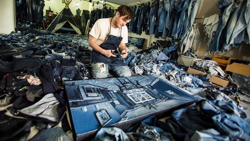 有影片》用「牛仔褲」能拼貼成畫!只用剪刀膠水,這個33歲藝術家徒手完成超逼真擬真畫作