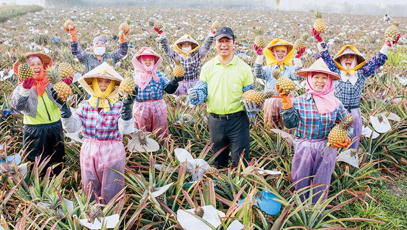綠地合作社理事主席郭智偉( 中) 說,百果園的契作訂單穩定,果農樂於接單。但若需求激增,大面積土地難尋,恐成果農擴產的隱憂。