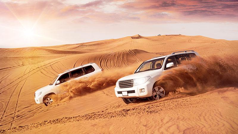 沙漠飆沙非常刺激,需要經驗豐富的駕駛。在荒漠中,我們就目睹一輛稍早翻車的車體。